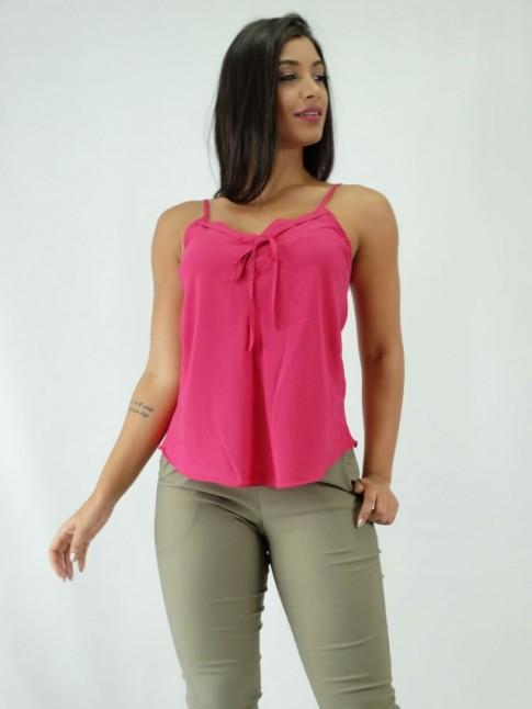 9ac3c85306 Blusa em Viscose Lisa com Amarração e Detalhe no Decote Rosa Pink  1810008