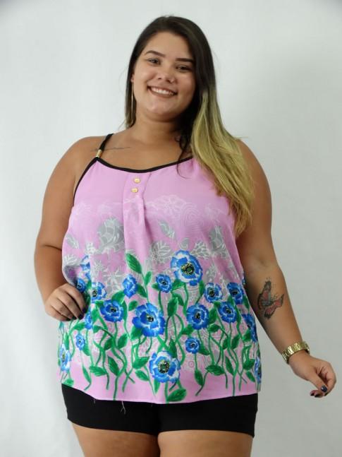 Blusa em Viscose de Alca com Detalhes e Botoes Plus Size Rosa Flores Azuis [1903012]