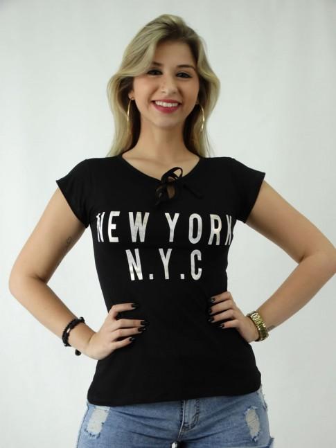 T-shirt em Viscolycra Amarracao no Decote NYC [1809102]