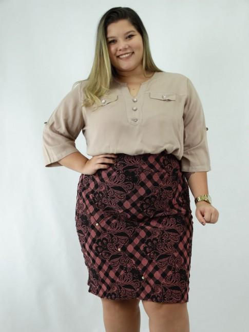 Saia Plus Size em Jacquard Nervura com Strass Rose e Preto