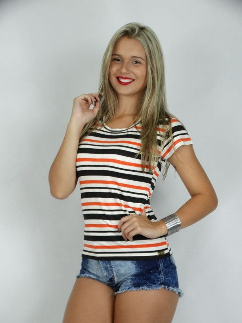 314 - T-Shirt Baby Look em Visco Lycra Listrada 623