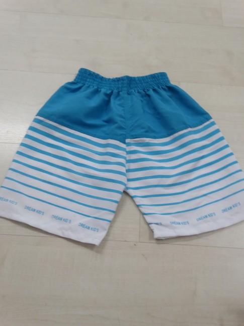 Short Infantil em Microfibra Azul Claro Listras [X812118]