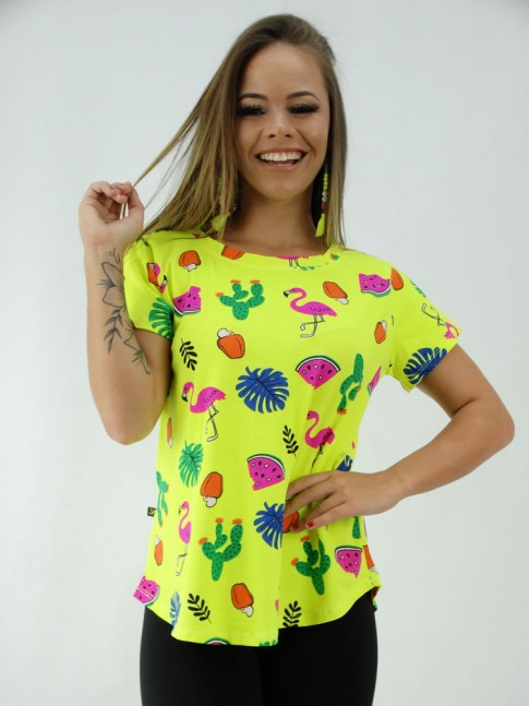 T-shirt Baby Look em Viscolycra Verde Neon Flamingos [2001294]