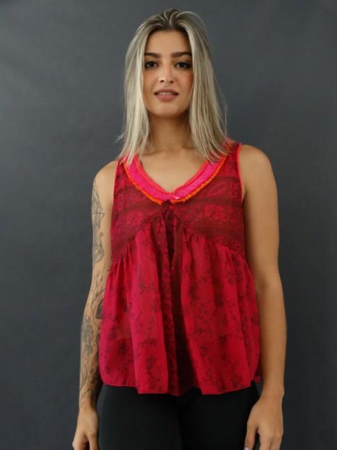 Blusa de Alça com Franjas em Voil Estampado Rosa [2012088]