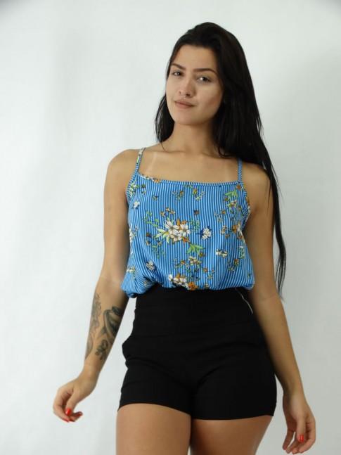 Cropped Em Viscose com Alcinha Azul Listradinho Com Flores