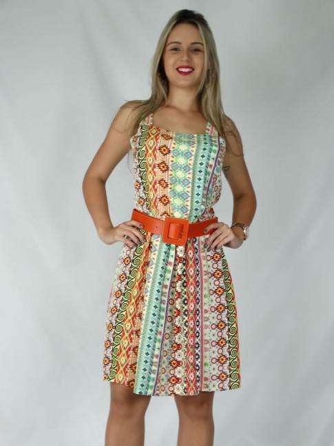 Vestido de viscose com prega na saia estampa étnica color