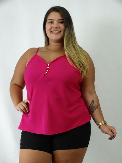 Blusa em Viscose de Alca com Botoes Plus Size Rosa Pink [1903002]