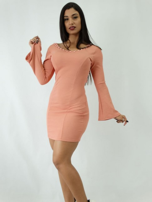 Vestido em Jacquard Estilo Tubinho Manga Longa Flare Rose