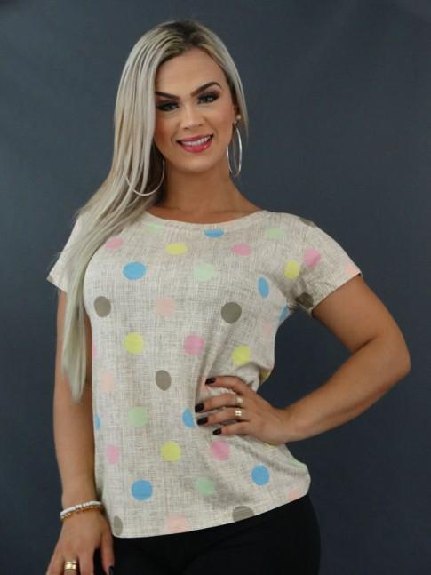 Blusa T-shirt Estampada em Viscolycra Bege Poá Colors [2103138]