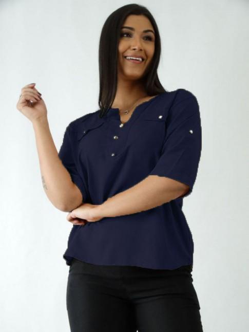 Blusa em Viscose Decote V com Botões Azul Marinho [2007092]