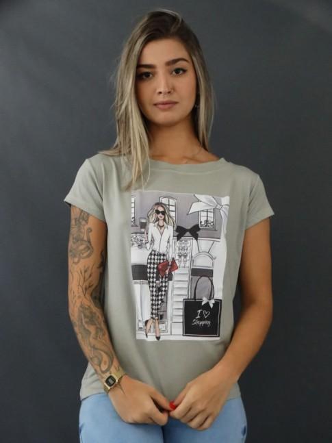 Blusa T-shirt Estampada em Viscolycra Cinza I Love Shopping [2103154]