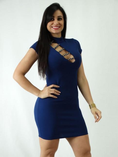 Vestido em Jacquard Frente com Tiras Golinha e Tachas Azul Marinho