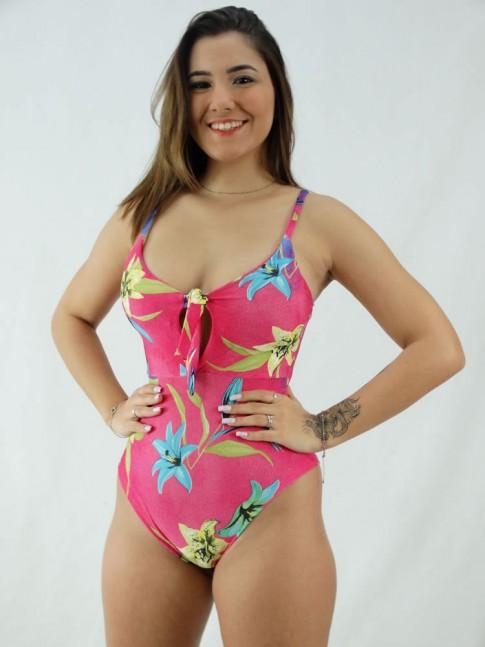 Body Decote Gota Abertura com bojo Suplex Estampado Rosa Pink Flores [2008048]