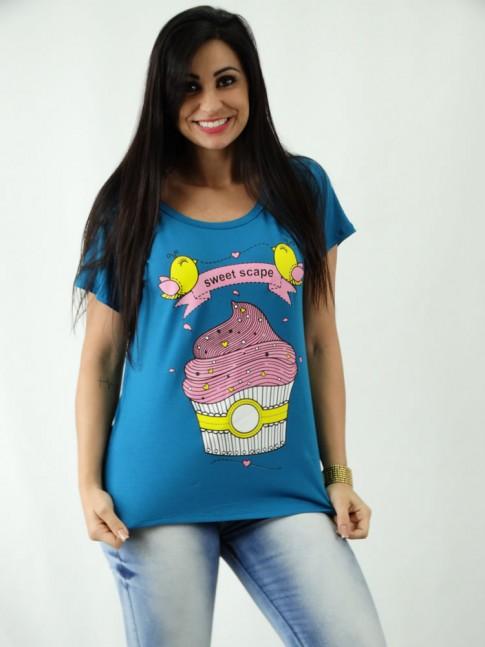 T-shirt em Viscolycra Mullet Estampa CupCake