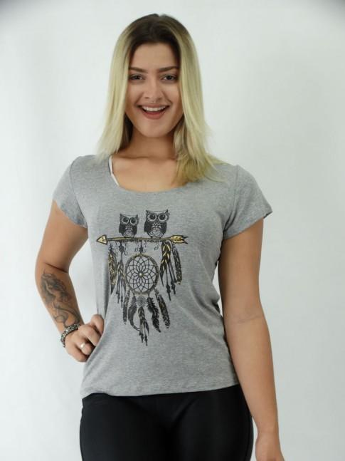 T-shirt em Viscolycra Corujas e Filtro dos Sonhos