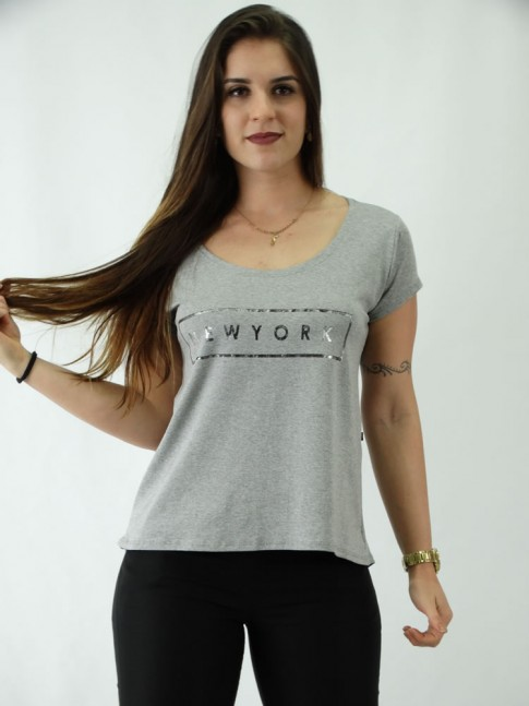 T-shirt em Viscolycra Mullet Estampa New York