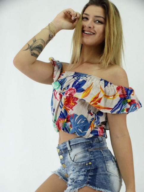 Blusa Cropped em Ciganinha Viscose Pontilhados com  Flores Coloridas