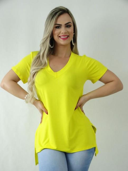 T-Shirt em Viscolycra Decote V Sobre Legging Amarelo [1909076]