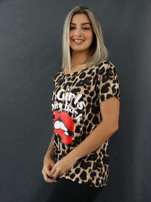 T-shirt Estampada em Viscolycra Onça Caramelo Girls Bite [2012043]
