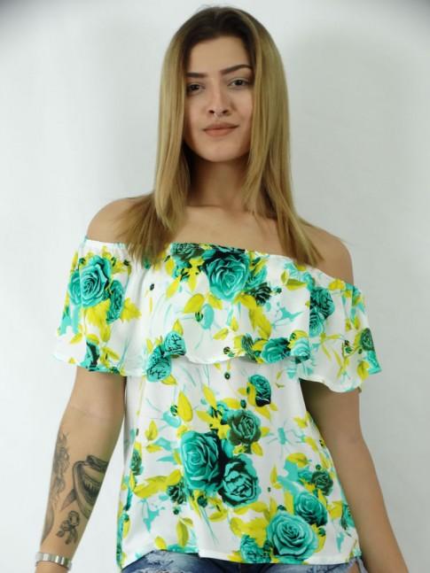 Blusa Viscose Ciganinha Sobreposta Estampa Flores Brasileiras