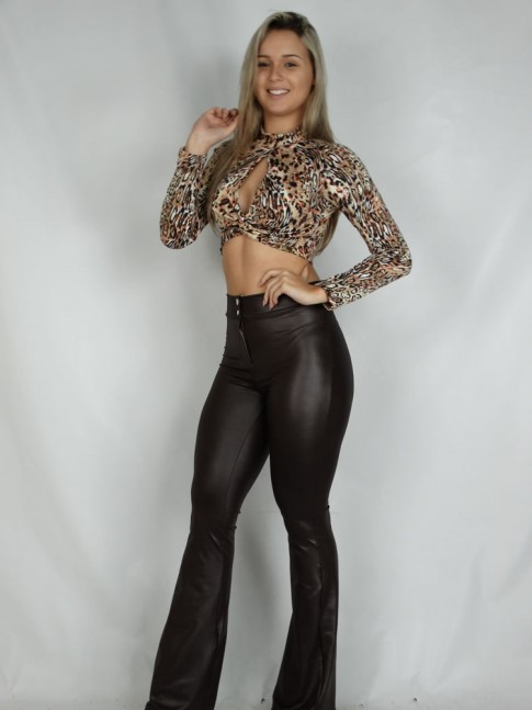 200- Cropped Manga Longa Gota No Busto Animal Print