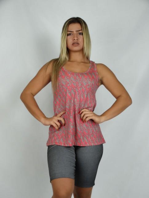 314 - Bata Camiseta em Viscolycra Estampa Riscos Vermelho 591