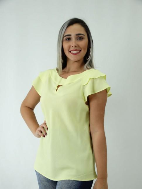 Blusa em Viscose Detalhe Gota Babado Sobreposto Amarelo [1812210]