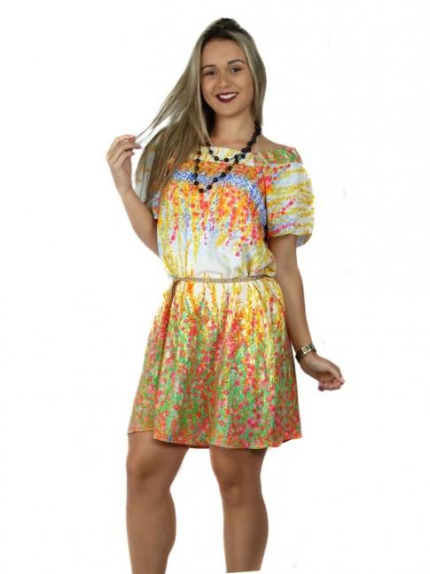 Vestido de viscose com manga curta barrado estampa floral quente