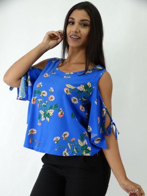 Blusa em Viscose com Abertura na Manga Azul com Flores