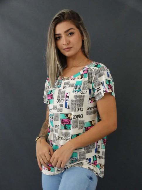 Blusa T-shirt Estampada em Viscolycra Off White Quadrinhos [2103129]
