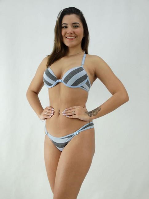 Conjunto Sutiã Nadador e Calcinha Listrado Azul e Cinza [2008090]