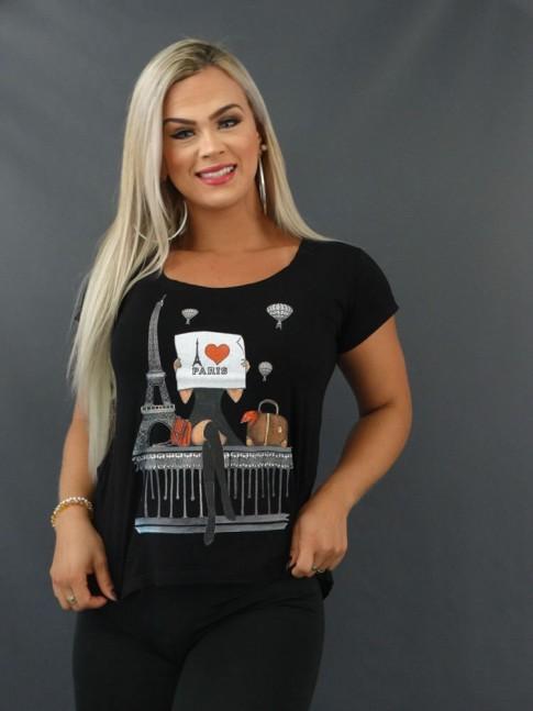 Blusa T-Shirt Mullet Estampada em Viscolycra Preto Paris [2103158]
