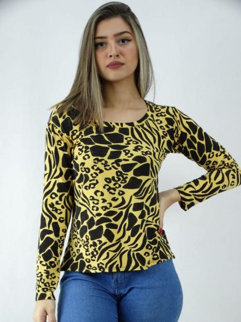 Blusa Manga Longa em Viscolycra Leopardo Amarelo Preto [2005019]