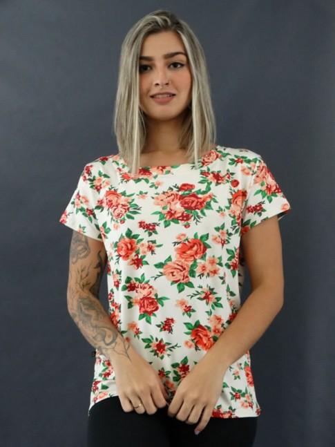 T-shirt Estampada em Viscolycra Off Flores Vermelho [2012054]