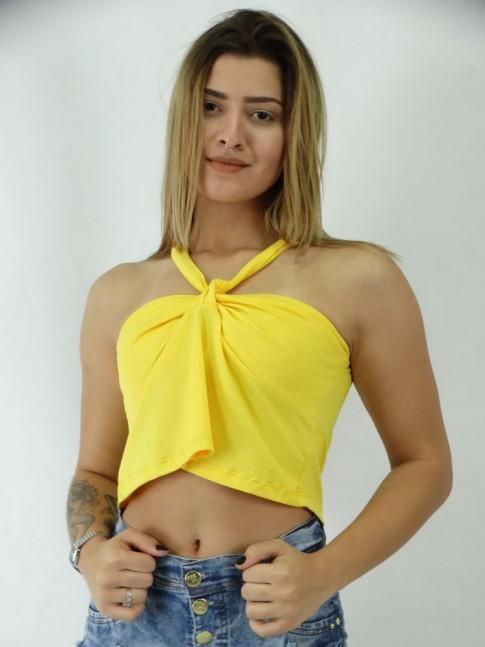 Blusa Cropped em Viscolycra No no Busto Lisa