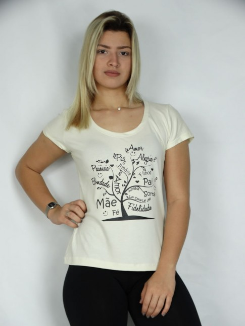 T-shirt em Viscolycra Arvore Desejos