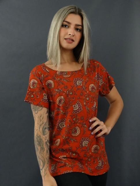 T-shirt Estampada em Viscolycra Ferrugem Flores [2012064]