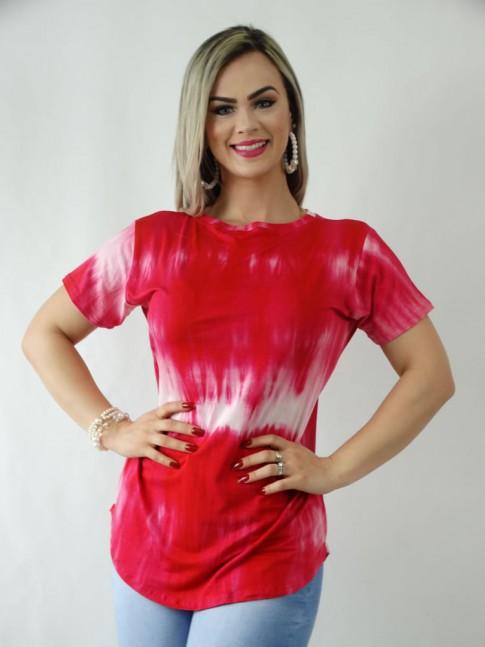 T-Shirt em Viscolycra Sobre Legging Tie Dye Vermelho [1909057]
