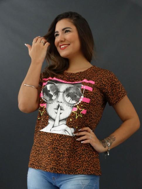 T-shirt Estampada em Viscolycra Onça Caramelo Living Deluxe Woman [2012034]