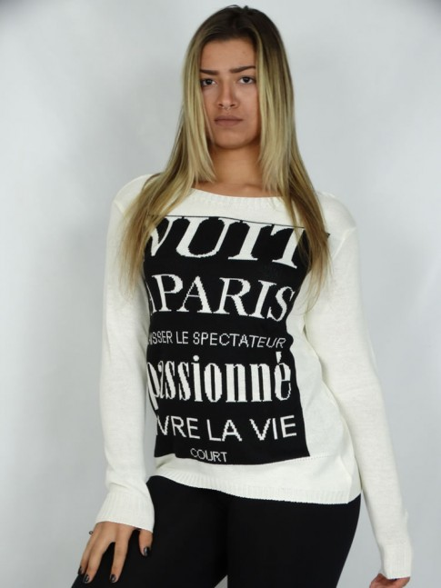 200-Blusa em Tricot Estampa Paris Passione