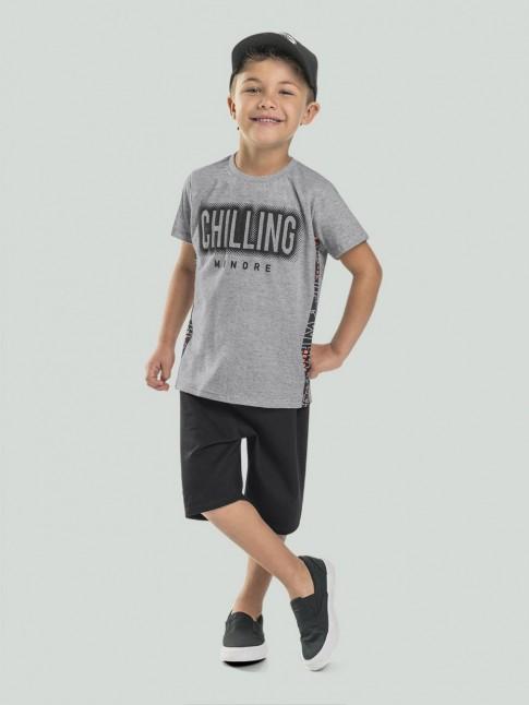 T-Shirt Infantil Masculina Estampada Chilling Cinza [2008215]