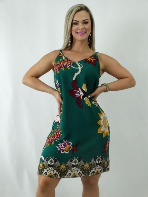 Vestido em Viscose Decote V Alca Fina Verde Flores [1902128]