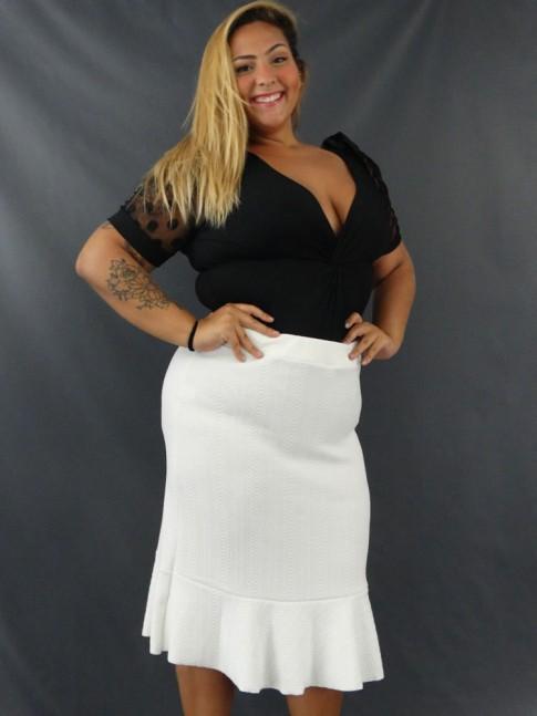 Saia Midi com Babado em Jacquard Plus Size Off White [2103016]