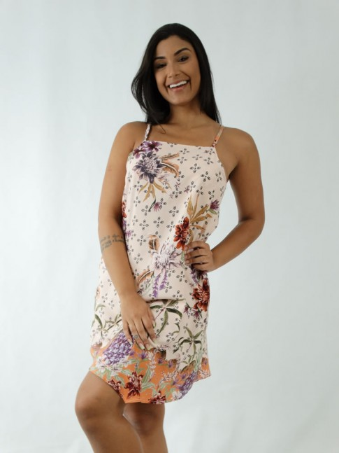 Vestido em Viscose de Alça Fina Assimétrico Rose Flores Detalhes Coral [1912004]