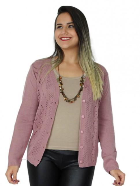 200-Casaco em tricot desenho losango rendado