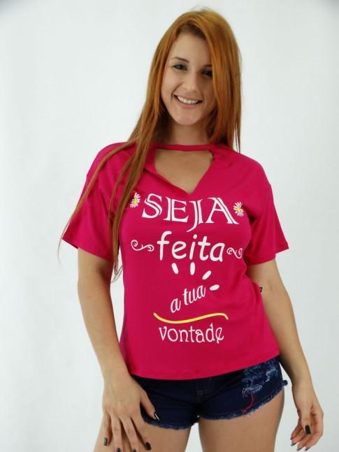 T-shirt em  Viscolycra Recorte V no decote Seja Feita