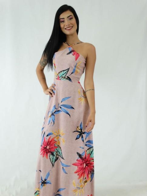 Vestido Longo em Viscose Frente Única Rose Flores Colors [1911032]