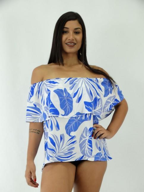 Blusa em Viscose Ciganinha Sobreposta Branca Floral Azul