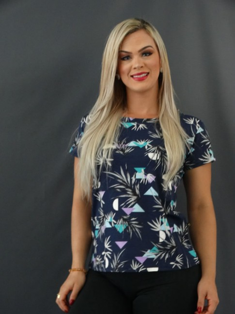 T-shirt Estampada em Viscolycra Azul Marinho Folhas Cinza e Geométrico [2101023]