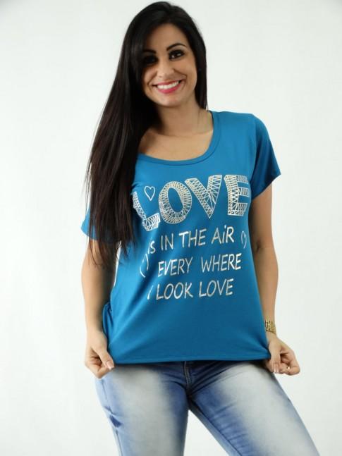 T-shirt em Viscolycra Mullet Estampada Love